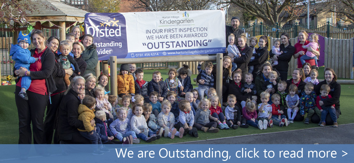Ofsted Oustanding celebration with staff and children from the nursery